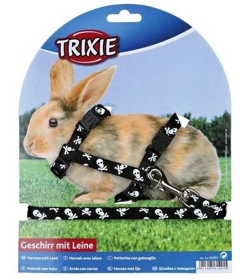 Шлейка с поводком для кролика (нейлон) 25-44см/10мм, фото 1