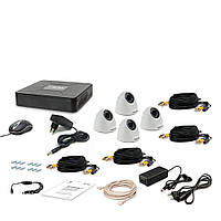Комплект проводного видеонаблюдения Tecsar 4IN DOME LUX