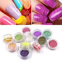Набор меланжа для дизайна ногтей №1 - 12 цветов в акриловом контейнере