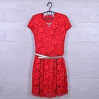 """Платье подростковое нарядное """"Дамочка"""" с поясом. 128-146 см. Красное. Оптом."""