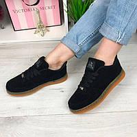 Женские кроссовки, подошва 3 см, черные / замшевые кроссовки для девочек, удобные, модные
