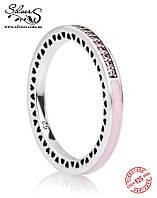 "Серебряное кольцо Пандора (Pandora) ""Розовое лучезарное сердце"""