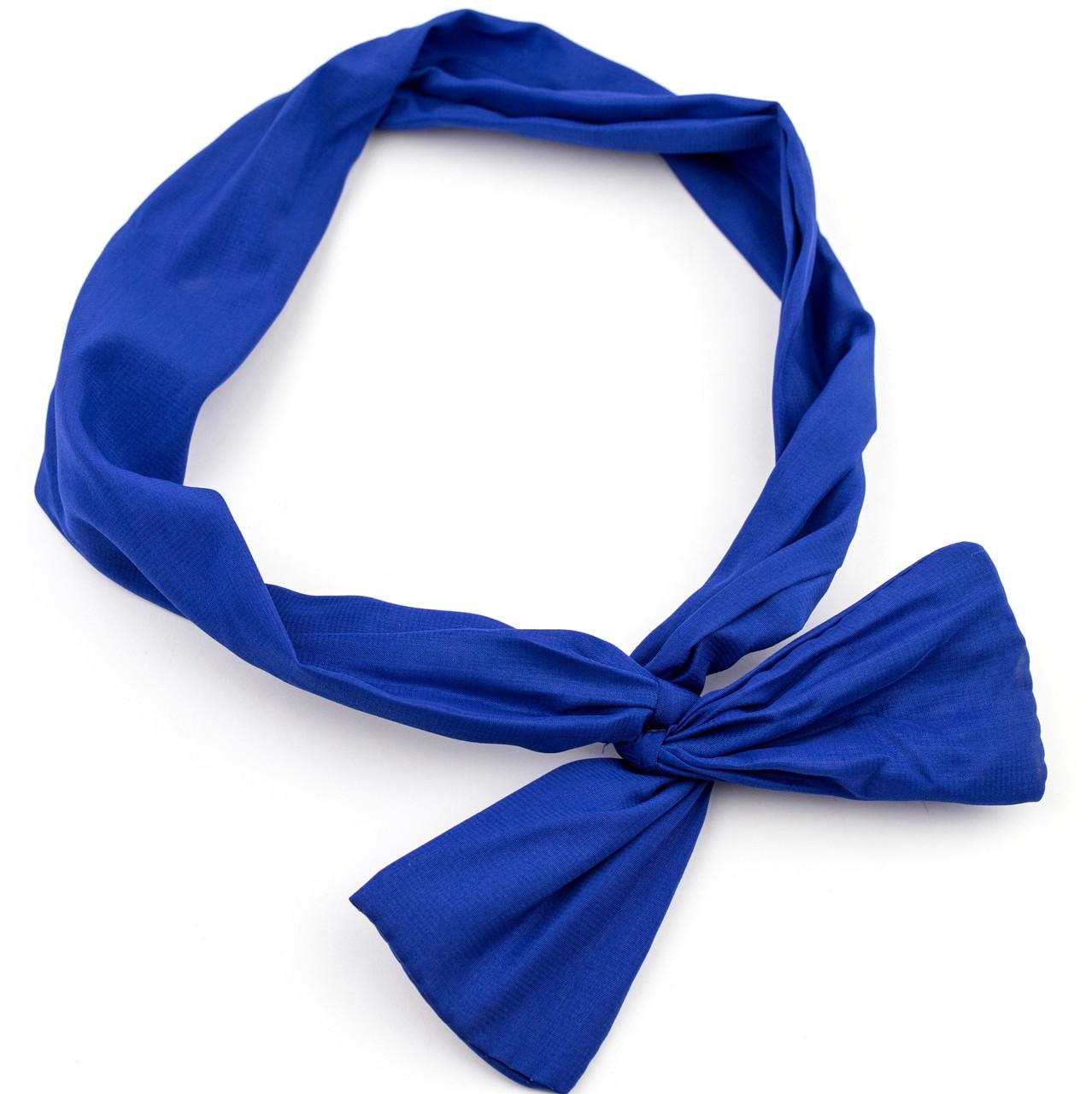 Повязка на голову Солоха с бантиком синяя