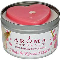Aroma Naturals, 100% Натуральная Соевая Свеча Объятья и Поцелуи, 6.5 унций