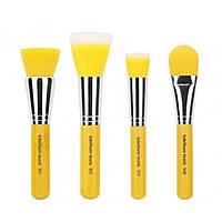 Bdellium Tools, Yellow Bambu Series, кисти для нанесения основы под макияж, набор из 4-х кистей