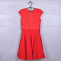 """Платье подростковое нарядное """"Солнце-клеш"""" с поясом. 122-140 см. Красное. Оптом."""