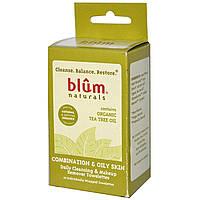 Blum Naturals, Салфетки для ежедневного очищения и снятия макияжа, комбинированная и жирная кожа, чайное дерево, 10 салфеток
