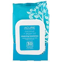 Acure Organics, Очищающие Влажные Салфетки, Кокосовое + Аргановое Масло, 30 Салфеток