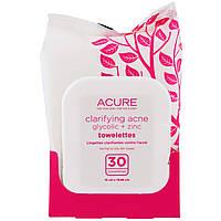 Acure Organics, Очищающие Салфетки с Гликолевой Кислотой и Оксидом Цинка для Лечения Акне, 30 Салфеток