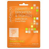 Andalou Naturals, Instant Brighten & Tighten, Hydro Serum Facial Mask, Brightening, 1 Single Use Fiber Sheet Mask, .6 fl oz (18 ml)