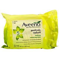 Aveeno, Active Naturals, салфетки для удаления макияжа с положительным сиянием, 25 салфеток
