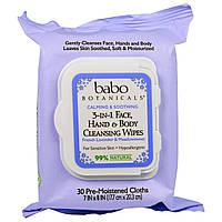 Babo Botanicals, 3-в-1, Успокающие и Смягчающие Лицо, Руки и Тело, Очищающие Салфетки, Французская Лаванда и Таволга, 30 Влажных Салфеток