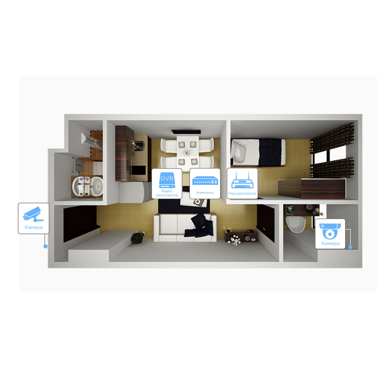 IP видеонаблюдение 2 камеры (4Мп) для квартиры