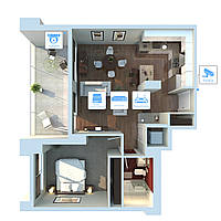 Система IP 2Mп (1080P) видеонаблюдения на 2 камеры «под ключ» для квартиры