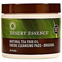 Desert Essence, Чистящие ватные диски для лица Natural Tea Tree Oil, Оригинальный продукт, 50 дисков