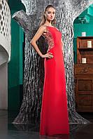 Красное облегающие вечерние платье обшитое бисером
