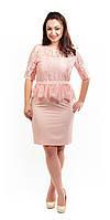Нарядно платье с кружевом и баской  пудрового цвета