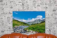 """Картина на холсте """"Великий польский пруд в долине пяти прудов в Татрах. Польша Природа"""".  60х40 см."""