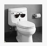 Виниловая интерьерная наклейка - смайлек в очках
