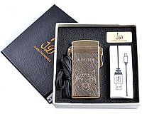 Электроимпульсная USB зажигалка Тигр №4759, нано-технологии для курильщиков, модный и стильный гаджет