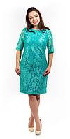 Женское кружевное платье увеличенный размер мятное