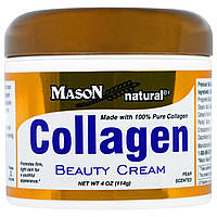 Mason Naturals, Крем для лица и тела с коллагеном, с запахом груши, 4 унции (114 г)