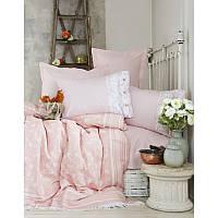 Постельное белье с покрывалом  Karaca Home Elina 2017-2 pink pike jacquard