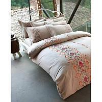 Постельное белье Karaca Home Privat Berte бежевое сатин с вышивкой