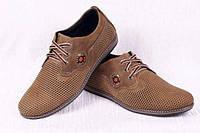 Летние мужские кожаные туфли с перфорацией с 44 размер олива