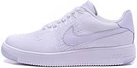 Женские кроссовки Nike Air Force 1 Flyknit Low White, найк, айр форс