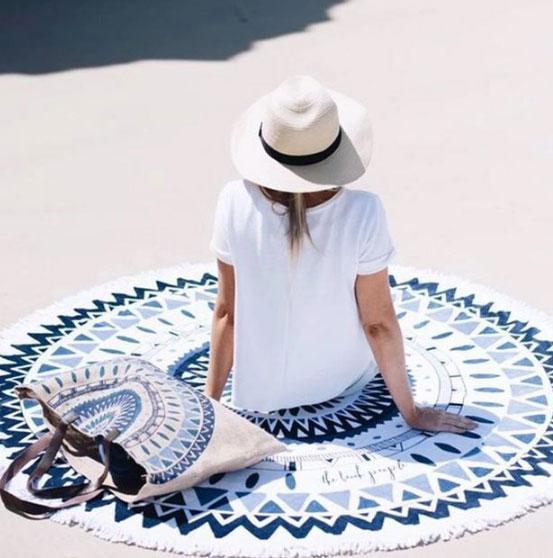Пляжний килимок Мандала. Синьо-чорний колір. 150-160 див.