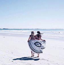 Пляжний килимок Мандала. Синьо-чорний колір. 150-160 див., фото 3