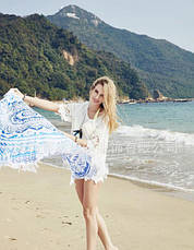 Пляжный коврик Мандала, голубой и синий цвета. 150-160 см., фото 2