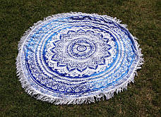 Пляжный коврик Мандала, голубой и синий цвета. 150-160 см., фото 3