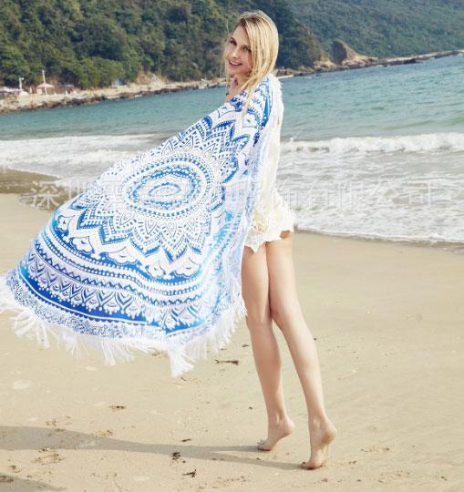 Пляжный коврик Мандала, голубой и синий цвета. 150-160 см.