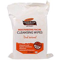 Palmers, Формула с маслом какао, увлажняющие очищающие салфетки для лица, 25 салфеток
