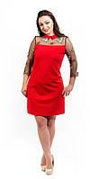 Красивое женское платье с воротничком и вышивкой красное