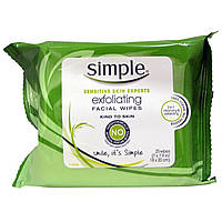 Simple Skincare, Отшелушивающие салфетки для лица, 25 салфеток