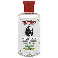 Thayers, Гамамелис, тоник без спирта, формула с алоэ вера, огуречный, 12 жидких унций (355 мл)