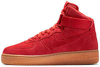 Мужские кроссовки Nike Air Force 1 Perforated Red Suede Pack, найк, айр форс