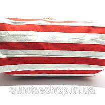 Сумка пляжная текстильная летняя для пляжа форма бочонка красная полоса, фото 3