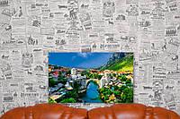 "Картина на холсте ""Город. Река. Природа"". 50х30 см."