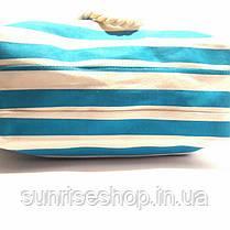 Пляжная сумка текстильная летняя для пляжа форма бочонка бирюзовая полоса, фото 3