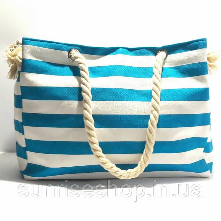Пляжная сумка текстильная летняя для пляжа форма бочонка бирюзовая полоса