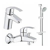 Комплект смесителей для умывальника и ванной Grohe Eurosmart 123238/1