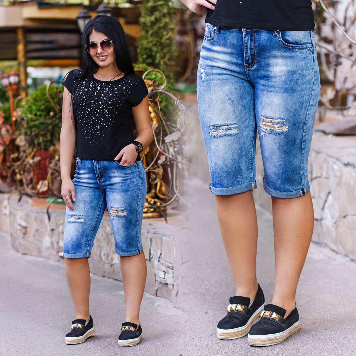 Женские стильные джинсовые бриджи стрейч в больших размерах 18370