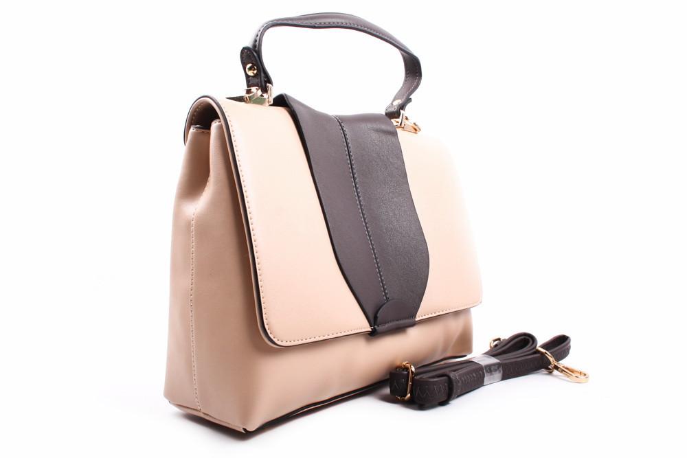 Стильная сумка Bonilarti Oalengi эко-кожа, цвет беж, коричневый, квадрат, средняя