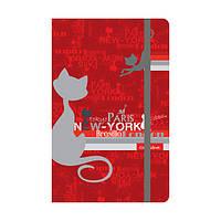 Книга записная Catsline A5-, картонная обложка, 80 листов, клетка