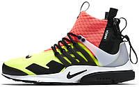Мужские кроссовки ACRONYM x NikeLab Air Presto Mid Yellow/Pink, найк айр престо