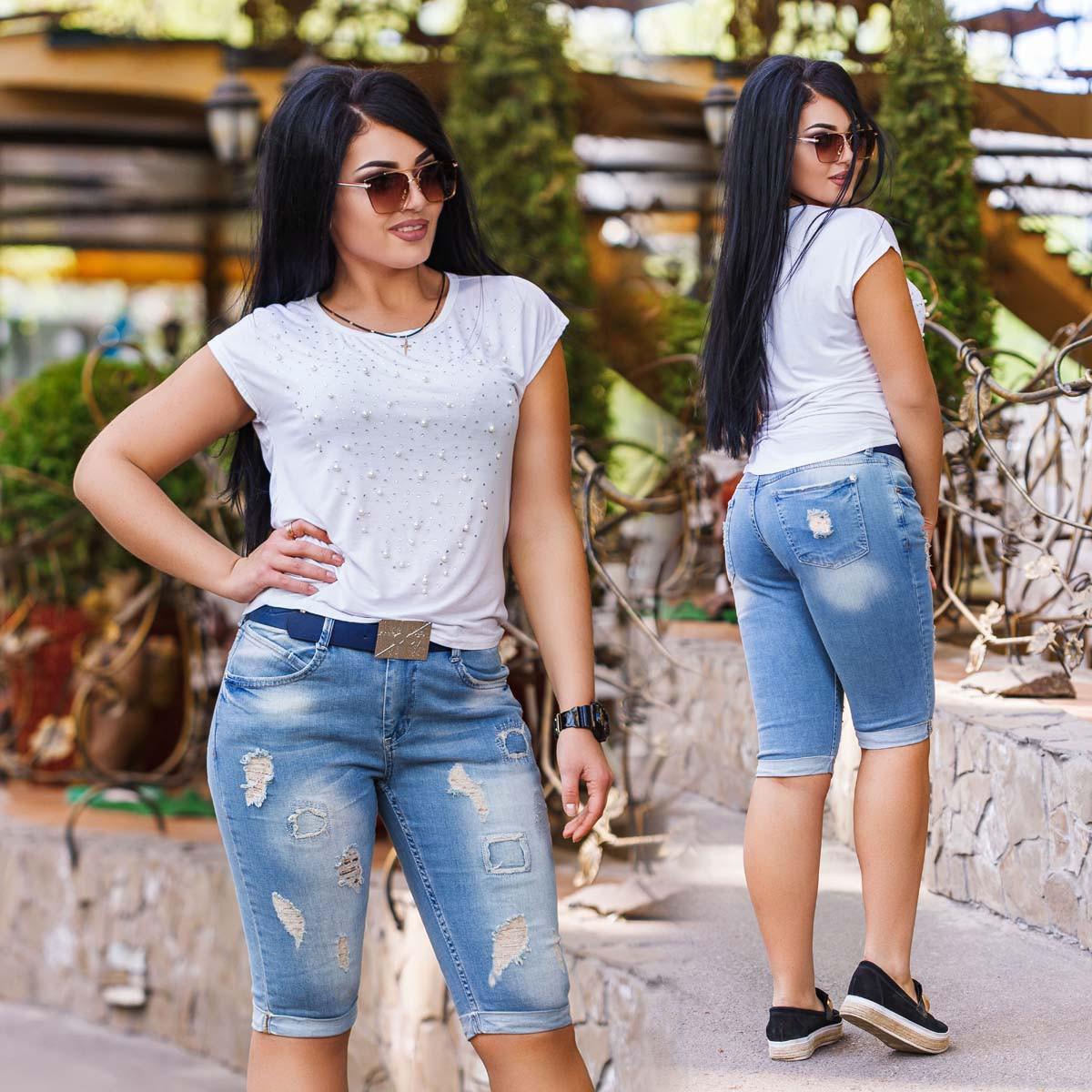 Женские стильные джинсы-бриджи в больших размерах 0305 WOOX